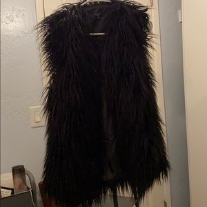 Black shag faux fur vest